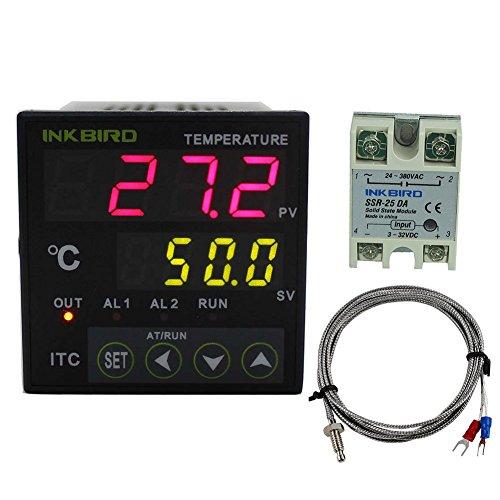 Inkbird ITC-100VL PID Termostato Digital, 12-24V Control Temperatura Rango de Calentadores y Enfriadores con K Sonda + 25DA SSR + Radiador Negro para Acuarios, Coche Reloj, Incubadora, Agua Bomba