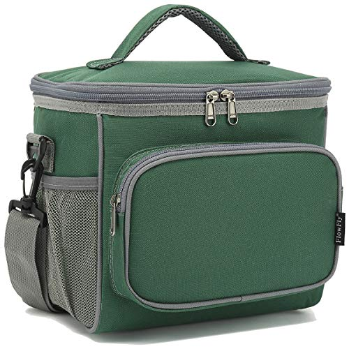 Insulated Reusable Lunch Bag Adult Large Lunch Box for Women and Men with Adjustable Shoulder Strap,Front Zipper Pocket and Dual Large Mesh Side Pockets by FlowFly,Army#Green