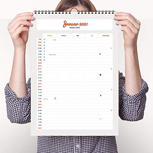 Wandkalender NewModern mit Namen für 2020 2021 - Idealer Familienkalender als Terminplaner im A3 Format (ca. 30x44cm) von heaven+paper® | Individuell personalisierbar | Startmonat frei wählbar