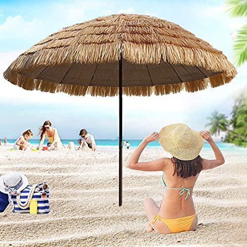 YFYYF Strandschirm Sonnenschirm Hawaii, Höhenverstellbarer Gartenschirm Kippfunktion, Stroh Balkonschirm Tischschirm Für Balkon Oder Terrasse Sonnenschutz UV Schutz Φ1.8M