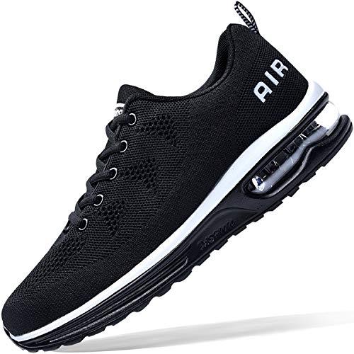 Zapatillas de tenis para hombre, ligeras, deportivas, para gimnasio, correr, caminar, EE. UU. 6.5-US12, negro (Negro), 44.5 EU
