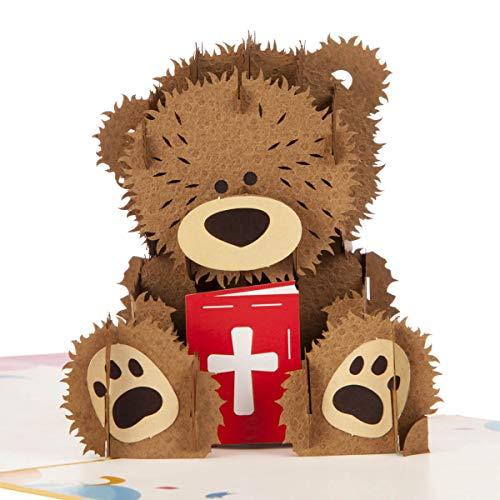 Cardology - Tarjeta de bautizo con diseño de oso de bautizo para niñas y niños, regalo de recuerdo de bautizo, 15 x 15 cm, tarjetas hechas a mano
