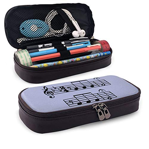 Leather Pencil Case,Note Fifth Symphony Music Zippered Pen Case Stationery Bag Pencil Holder