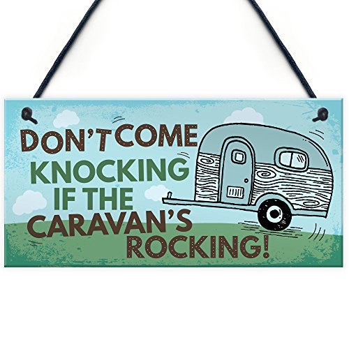 RED OCEAN Caravan Rocking Funny Novelty Hanging Plaque Campervan Motorhome Retirement Holiday Family Friendship Birthday Gift