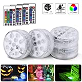 Actualizado 13 LED Luces Sumergibles 4PCS Piscina Luz LED Impermeables Multicolores LED Luz Sumergible con Mando a Distancia para Fiesta, Base de Jarrn, Boda, Navidad, Acuario, Decoracin, Estanqu