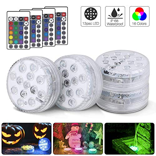 Actualizado 13 LED Luces Sumergibles 4PCS Piscina Luz LED Impermeables Multicolores LED Luz Sumergible con Mando a Distancia para Fiesta, Base de Jarrón, Boda, Navidad, Acuario, Decoración, Estanqu