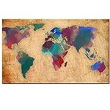 PEEKEON Abstracto 3d acuarela mundo mapa lienzo pintura retro globo mapas hd impresión en lienzo para sala de oficina imagen de pared Cuadros decoración 24x36 inch Sin marco