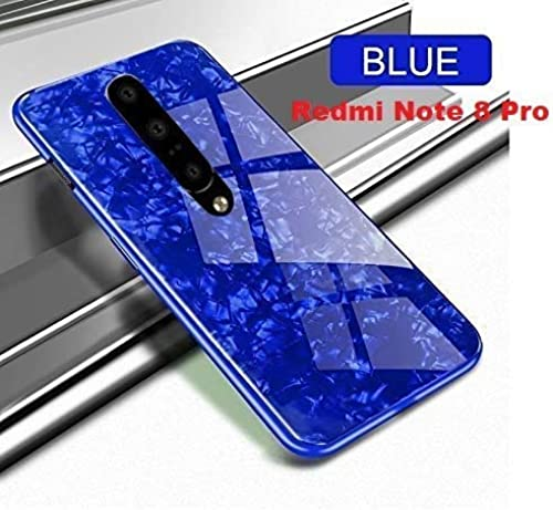YES2GOOD Luxury Marble Pattern Bling Shell Ultra Slim Hybrid Toughened Tempered Glass With Shockproof Edge Soft TPU Bumper Full Protective Back Cover Case Cover For Redmi Note 8 Pro Blue