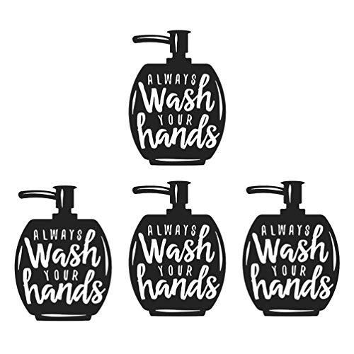 iplusmile 4 stks Hand Wassen Herinnering Posters Decoratieve Zwart Wit Hand Hygiëne Tekenen Poster Openbare Muur Decoraties