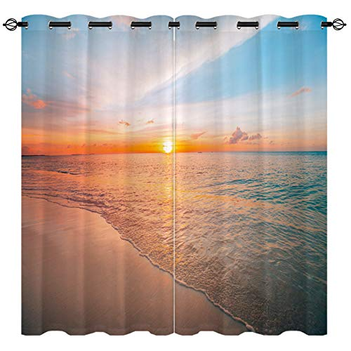 """EiiChuang Beach Curtains, Colorful Beautiful Ocean Beach Sunrise Seascape Pattern Print Curtains Waterproof Fabric, Grommet Home Decor Curtains for Bedroom Living Room Kitchen 2 Panel Set, 27.5"""" x 39"""""""