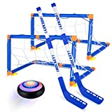 Hover Hockey Set Boys Toys, Hovering Hockey Game with 2 Goals and Led Lights, Indoor Air Soccer Hover Ball Gifts for 3 4 5 6 7 8 9 10 11 12 Year Old Kids