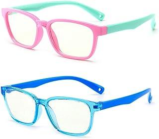 Kids Blue Light Blocking Glasses 2 Pack, Anti Eyestrain & UV Protection, Computer Gaming TV Phone Glasses for Boys Girls A...