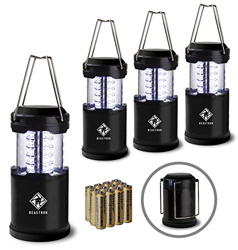 Beastron Portable LED Camping Lantern Flashlights with AA BatteriesSurvival Kit for Emergency Light Hurricane Power Outage Storm Outage Outdoor Portable Lanterns 4 Pack Black Collapsible