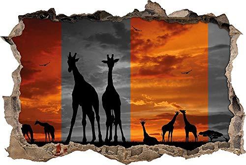 3D Wandtattoo Mauerloch Wandsticker Wandaufkleber Durchbruch selbstklebend Schlafzimmer Wohnzimmer Kinderzimmer - Afrika Giraffen im Sonnenuntergang,Größe:60x90 cm