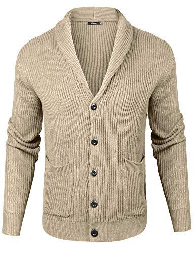 iClosam Mens Slim Fit Knitted Button Down Shawl Collar Cardigan Sweater with Ribbing Edge (Khaki, Medium)