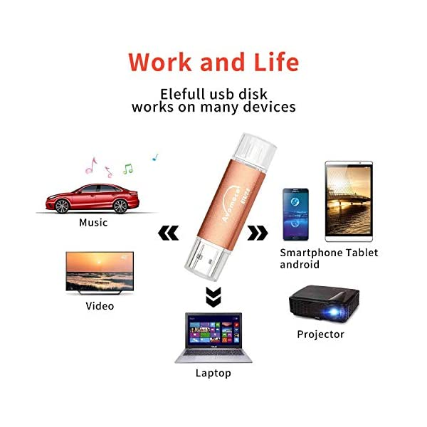 USB Flash Drive for Cell Phones,Tablets and PCs, Photo Stick for Android Smart Phone Computer Player TV DVD Car Etc. 4
