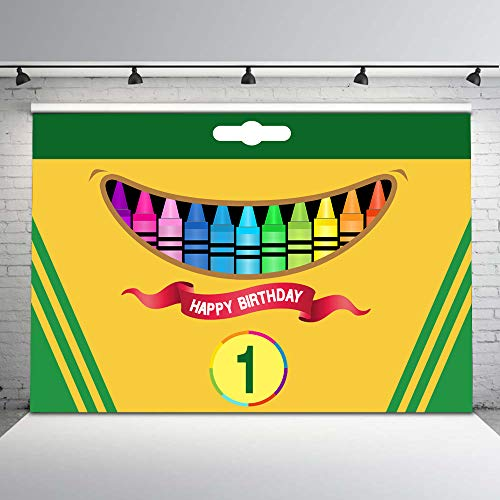 Mehofoto Crayon Box Party Backdrop Coloring Crayon Birthday Photo Background 7x5ft Art Party Backdrops Art or Coloring Party Decorations