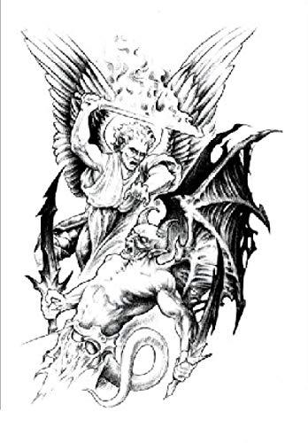 Etiqueta Engomada De Los Tatuajes Temporales Dios Y El Diablo Para Adultos Hombres Mujeres Niños Impermeable Fake Body Art Cover Up Set Anchor Graphic 21X15Cm 5 pcs
