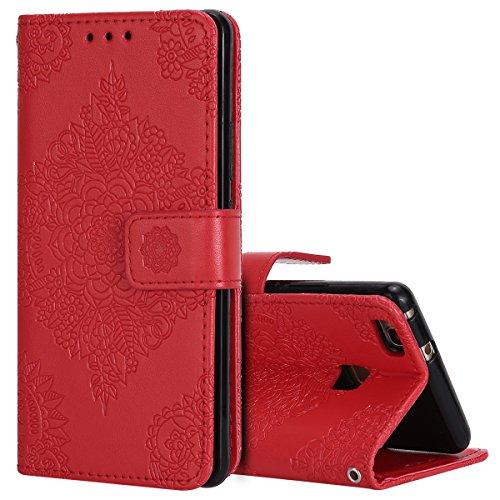 KunyFond Mandala Datura Motif Etui Cuir PU Bookstyle Housse à Rabat Leather Case Wallet Fonction Stand Fentes Carte Crédit Fermoir Magnétique Bumper Souple Folio Coque Compatible Huawei P9 Lite-Rouge