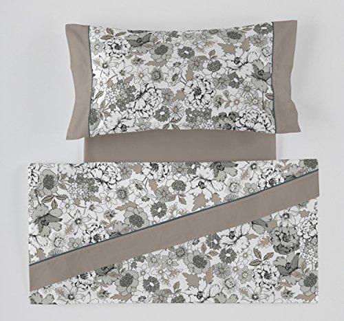 ES-Tela - Juego de sábanas Estampadas Erica Color Gris (3 Piezas) - Cama de 150 cm. - 50% Algodón/50% Poliéster - 144 Hilos