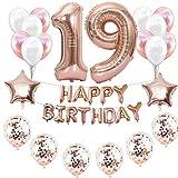 Haosell 19. Décoration d'anniversaire pour fille - Or rose - 19 ans - 19e anniversaire - Ballons en aluminium - Chiffre 19 - Or rose