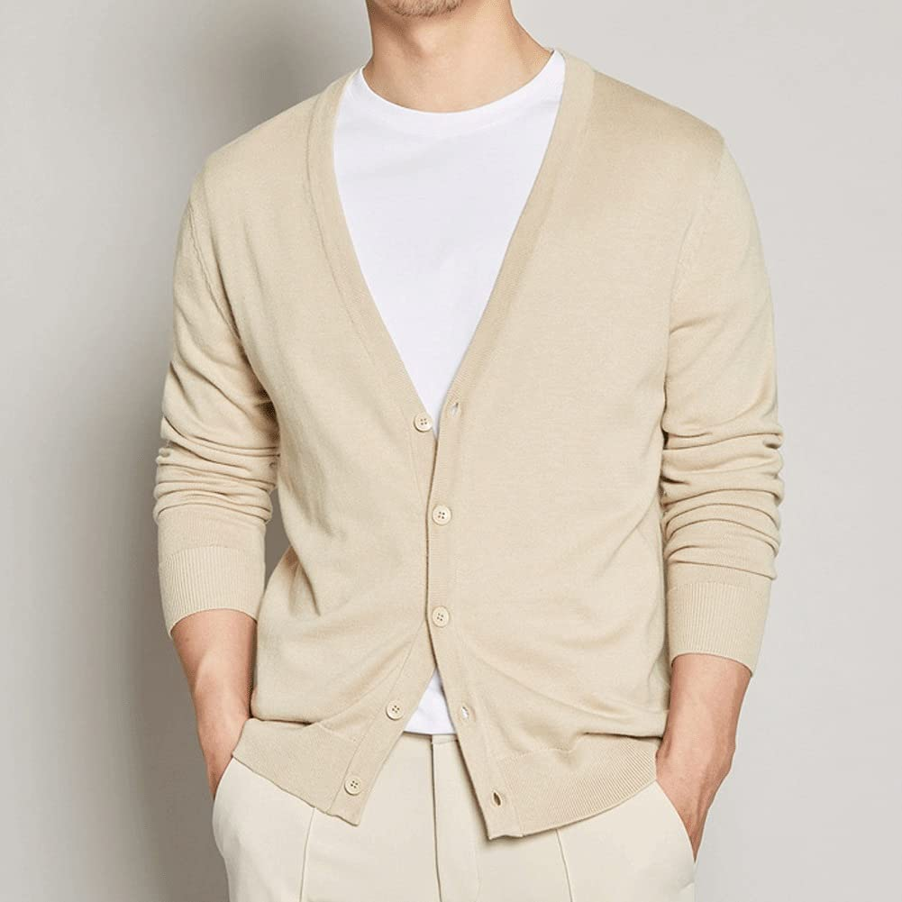 HLDETH Cardigan Male Autumn Solid Color Cardigan Knitted Cardigan Cotton Casual Buttoned Cardigan (Color : B, Size : L Code)