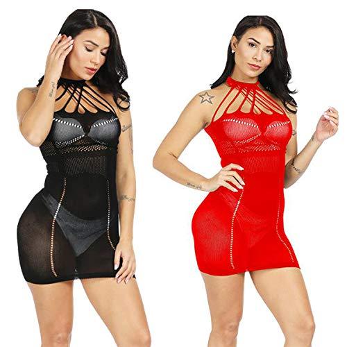 LOVELYBOBO 2-Pack Damen Kleid im Wetlook Spitzenkleid Tiefer Ausschnitt Rückenfreies Kleid Reißverschluss hinten Clubwear Partykleid...