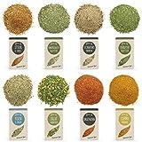 RINAMA – Lote de 8 mix de hierbas y especias «Gourmet » para carne, pescado, verduras y ensaladas – Mezclas perfumadas - Comida, Barbacoa y condimentos – Estuche degustación para regalar