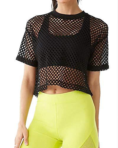 CLOZOZ Women's Mesh Net See Through Fishnet T-Shirt Crop Top (Medium, Black)