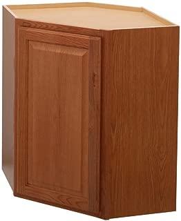 Hampton Bay Hampton Assembled 24x30x12 in. Diagonal Corner Wall Kitchen Cabinet in Medium Oak