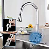 atalawa Touchless Kitchen Faucet, Kitchen Sink Faucet with Pull Down Sprayer, Dual Function Pull Out Spray Head, One Hole and 3 Hole Deck Mount, Single Handle for Automatic Motion Sensor, Chrome…
