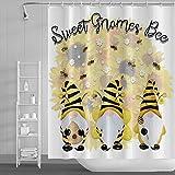 Yeele Duschvorhang mit süßem Gnome-Bienen-Motiv, 183 x 183 cm, Polyester, Sonnenblumen, weiße Gänseblümchen, Bienen auf weißem Badvorhang, wasserdichter Stoff, süßer Zwerge, Badezimmer, Badewanne
