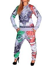 Joggingpak voor dames, landenvlaggen, pak van 100% katoen, geribde manchetten, trekkoord met trekkoord, sportpak, S-XXL