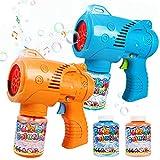 JoyGrow Pistola de Burbujas para Niños Automatic Maquina Burbujas con Música,Luz,Solución de Burbujas,Pistola de jabón para Fiestas Cumpleaños,Bodas al Aire Libre,Regalos para Niños y Niñas (2 PCS)