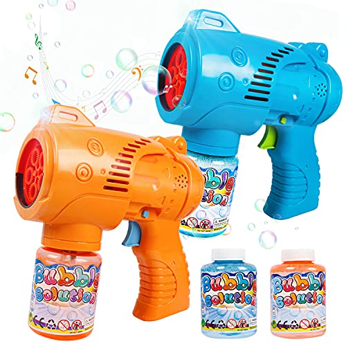 JoyGrow 2PCS Bubble Gun with Light and Music,Automatic Bubble Blaster for Kids Bubble Blower Maker for Outdoor Play Party Favor Birthday Gift Summer Toys