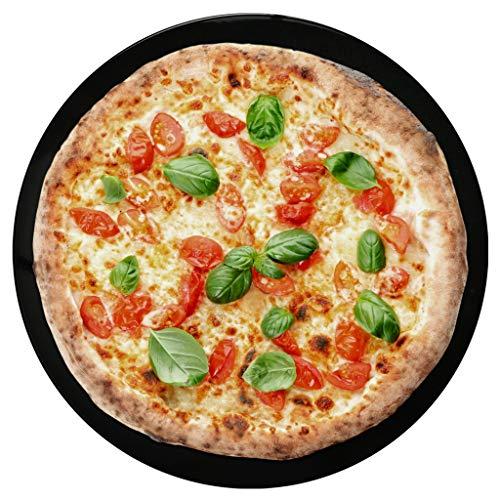 Hausfelder Emaille Pizzablech - 32cm rundes Pizza Kuchen Backblech extra tief, emailliertes Blech für Backofen und Grill