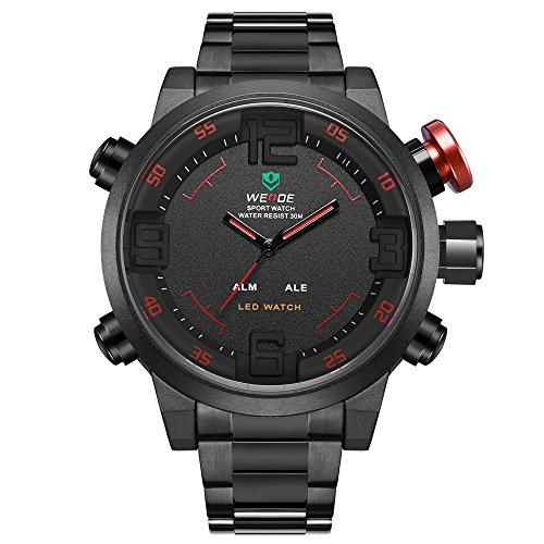 Reloj, relojes de hombre, correa de lujo de acero inoxidable negro, reloj de muñeca japonés con maquinaria de cuarzo y pantalla LED, reloj multifunción deportivo y fashion para hombre