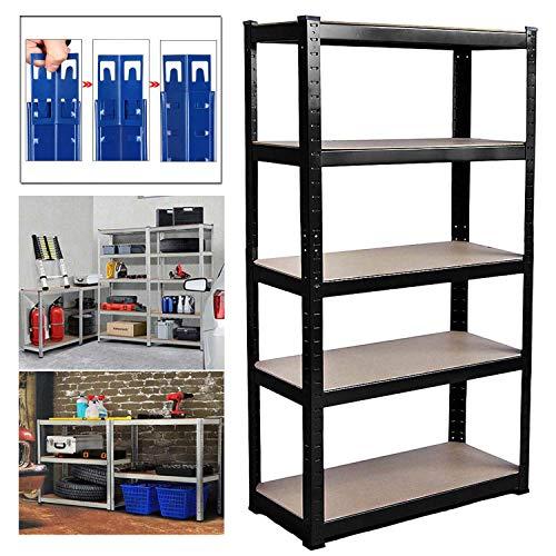 Shed Garage Shelving Unit for Storage, 150x70x30cm 5 Tier Storage Shelf Unit, Heavy Duty Metal Racking Workbench w/5 MDF Board, 875Kg Load Capacity(175Kg Per Shelf), Rubber Feet, Black