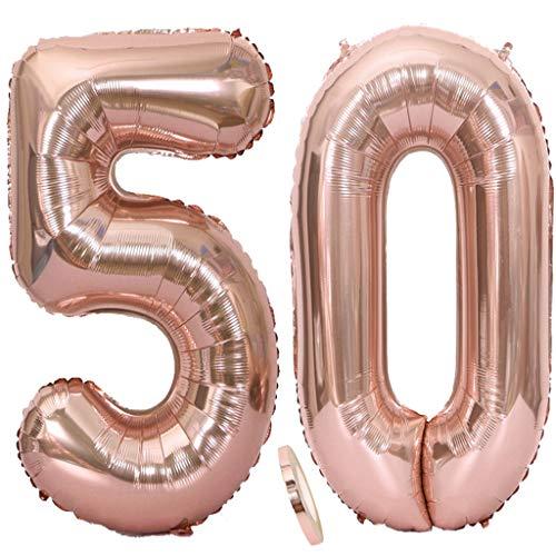 2 Globos Número 50 Oro Rosa, Number 50 Globo de Helio Globo Gigante Numero 50 con Cinta 40