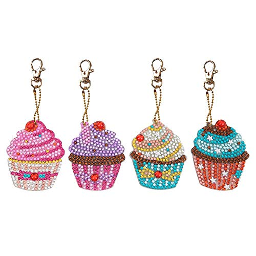 Key Chain 4PCS,Keychain Diamond Painting Key Holder Ring Keyring Keyfob Full Drill Diamond 5D DIY Rhinestone Mosaic Making Decorative Pendant Kits Handcraft Gift for Kids Adults Gi (Cupcake)