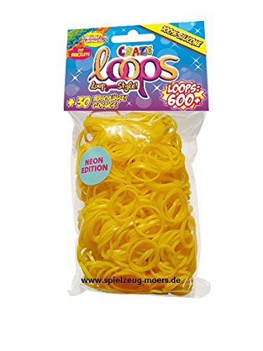 CRAZE LOOPS 600er Uni Gelb Neon - Knüpfringe 600 Stück- Loom 100% Silikon - Mega US Trend -Original Craze Loops - make your Bracelets!