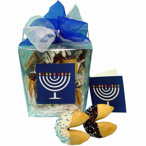 Hannukah Take Out Pail of 6 Fortune Cookies (Assorted- Caramel & chocolate)