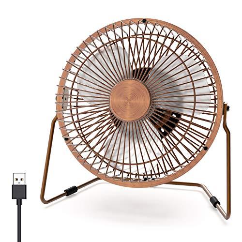 Ventilador de escritorio pequeño USB, XUAMZ Mini ventilador personal de escritorio portátil de 6 pulgadas, 2 velocidades, ajustable, rotación de 360 grados, diseño de metal(Bronce)