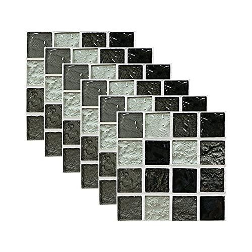 Xiauyu 6 pegatinas de pared tridimensionales, impermeables, removibles, autoadhesivas, mosaicos, cocina, baño, salpicaduras, azulejos
