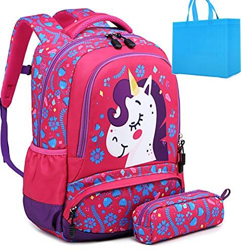 Girls School Backpacks Unicorn Backpack with Pencil Case Kids Elementary Primary School Bags 2 in 1 Girls Bookbag Rose Red