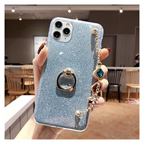 Glqwe Pulsera de Moda Caja del teléfono de Lanyard para iPhone 12 Mini Pro MAX 6 7 8 11 S Plus X S XR MAX TPU (Color : Blue, Material : For iPhone 12Pro)