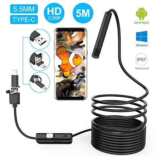 innislink Endoskopkamera, USB Endoskop Android Handy Inspektionskamera 3 in 1 USB/Micro USB/Type-C Megapixel HD Boreskope Kamera Stetoskopkamera Wasserdicht für Android Phone Tablet Windows - 5m