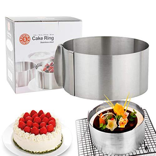 Anello per torta regolabile in acciaio inossidabile, anello per torta con manico regolabile, semplice anello per torta da forno è molto adatto per realizzare strumenti di cottura per torte a strati