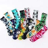 MIWNXM 10 Paare Tie-Dyed Maple Leaf Socks Long Fashion Weed Socks Men Skateboard Hiphop SocksWomen Couple Socks