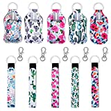 20 Pieces Keychain Holders Set, 5pcs Chapstick Holder Keychains, 5pcs Wristlet Keychains with 5pcs Metal Clip Cords and 5pcs 30 ml Empty Refillable Travel Size Bottles for Outdoor Travelling Supplies